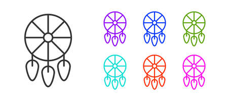 Black line Dream catcher with feathers icon isolated on white background. Set icons colorful. Vector Illusztráció