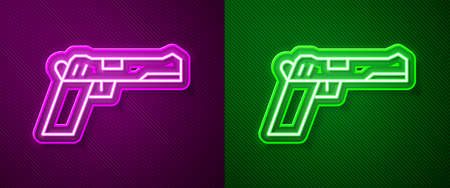 Glowing neon line Pistol or gun icon isolated on purple and green background. Police or military handgun. Small firearm. Vector