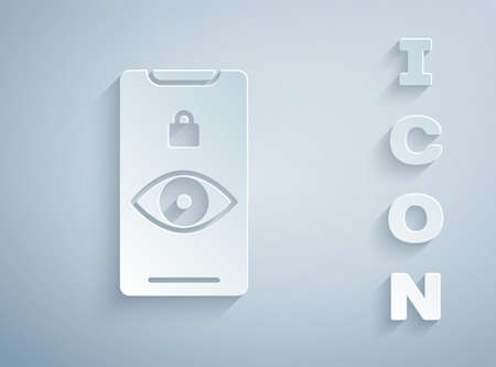 Paper cut Eye scan icon isolated on grey background. Scanning eye. Security check symbol. Cyber eye sign. Paper art style. Vector Stok Fotoğraf - 147588573