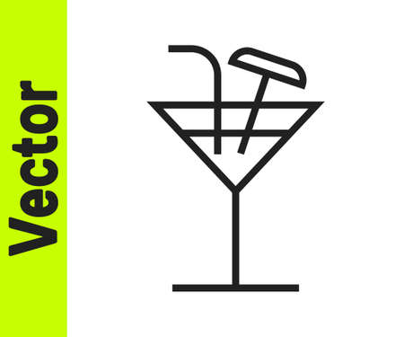 Black line Cocktail icon isolated on white background. Vector Illustration
