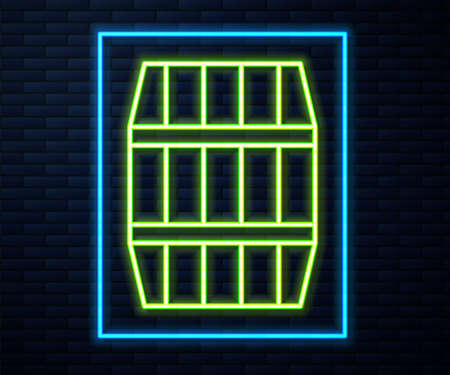 Glowing neon line Wooden barrel icon isolated on brick wall background. Alcohol barrel, drink container, wooden keg for beer, whiskey, wine. Vector 写真素材 - 147588965