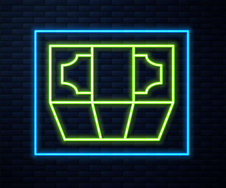 Glowing neon line Stacks paper money cash icon isolated on brick wall background. Money banknotes stacks. Bill currency. Vector Ilustrace