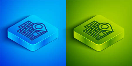 Isometric line Map pointer with house icon isolated on blue and green background. Home location marker symbol. Square button. Vector Stok Fotoğraf - 147588803