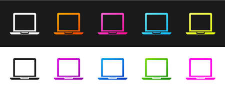 Set Laptop icon isolated on black and white background. Computer notebook with empty screen sign. Vector