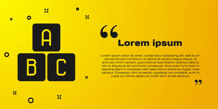 Black ABC blocks icon isolated on yellow background. Alphabet cubes with letters A,B,C. Vector Illustration