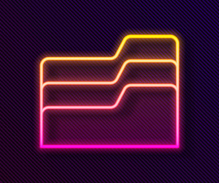 Glowing neon line Document folder icon isolated on black background. Accounting binder symbol. Bookkeeping management. Vector