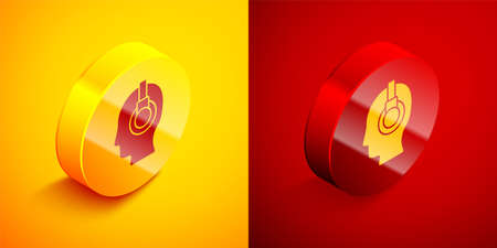 Isometric Man with a headset icon isolated on orange and red background. Support operator in touch. Concept for call center, client support service. Circle button. Vector