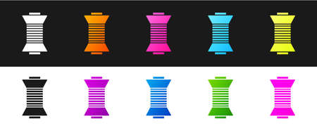 Set Sewing thread on spool icon isolated on black and white background. Yarn spool. Thread bobbin. Vector Illustration