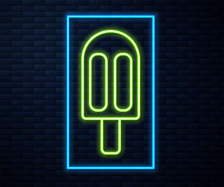 Glowing neon line Ice cream icon isolated on brick wall background. Sweet symbol. Vector