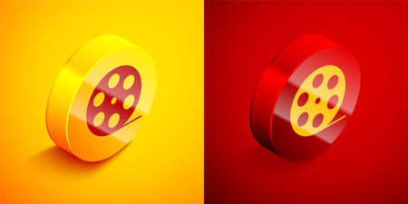 Isometric Film reel icon isolated on orange and red background. Circle button. Vector Illustration
