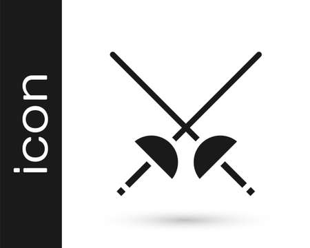 Grey Fencing icon isolated on white background. Sport equipment. Vector Illustration