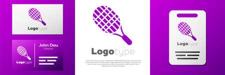 Logotype Tennis racket icon isolated on white background. Sport equipment.