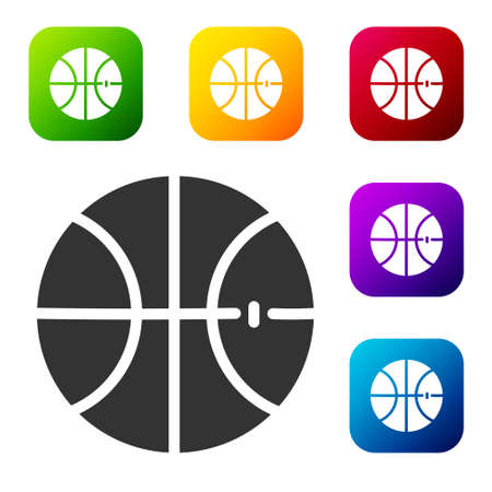 Black Basketball ball icon isolated on white background. Sport symbol. Set icons in color square buttons. Vector Illustration