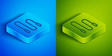 Isometric line Jump rope icon isolated on blue and green background. Skipping rope. Sport equipment. Square button. Vector Illustration