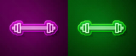 Glowing neon line Barbell icon isolated on purple and green background. Muscle lifting icon, fitness barbell, gym, sports equipment, exercise bumbbell. Vector Illustration Ilustrace