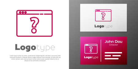 Logotype line Browser with question mark icon isolated on white background. Internet communication protocol. Ilustracja