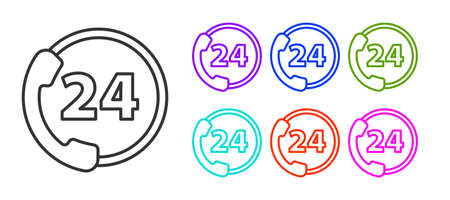 Black line Telephone 24 hours support icon isolated on white background. All-day customer support call-center. Full time call services. Set icons colorful. Vector Ilustrace