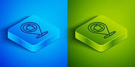 Isometric line Map pointer with house icon isolated on blue and green background. Home location marker symbol. Square button. Vector