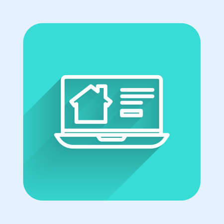 White line Online real estate house on laptop icon isolated with long shadow. Home loan concept, rent, buy, buying a property. Green square button. Vector