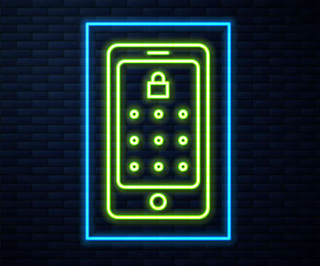 Glowing neon line Mobile phone and graphic password protection icon isolated on brick wall background. Security, personal access, user authorization. Vector Illustration Иллюстрация