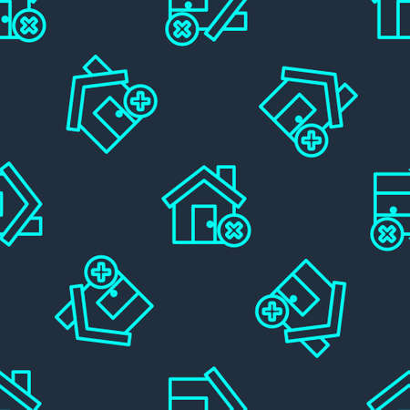Green line House with wrong mark icon isolated seamless pattern on blue background. Home and close, delete, remove symbol. Vector Vektorové ilustrace