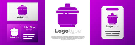 Logotype Cooking pot icon isolated on white background. Boil or stew food symbol.