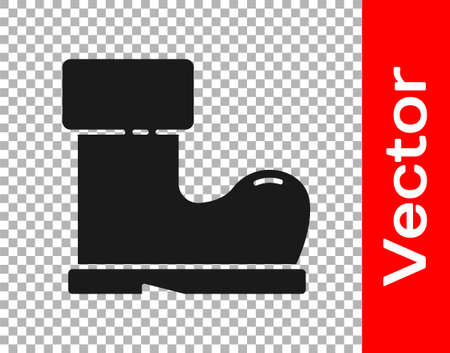 Black Waterproof rubber boot icon isolated on transparent background. Gumboots for rainy weather, fishing, gardening. Vector