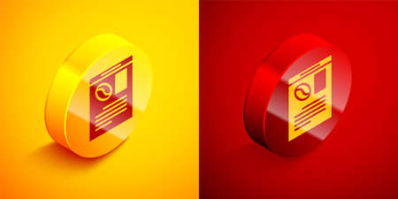 Isometric Newspaper and coffee icon isolated on orange and red background. Mass media symbol. Circle button. Vector Ilustrace
