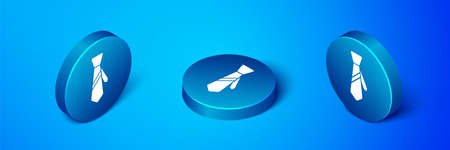 Isometric Tie icon isolated on blue background. Necktie and neckcloth symbol. Blue circle button. Vector Ilustrace