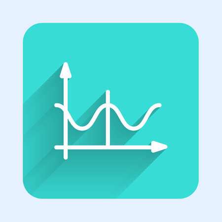 White line Graph, schedule, chart, diagram, infographic, pie graph icon isolated with long shadow. Green square button. Vector Ilustrace
