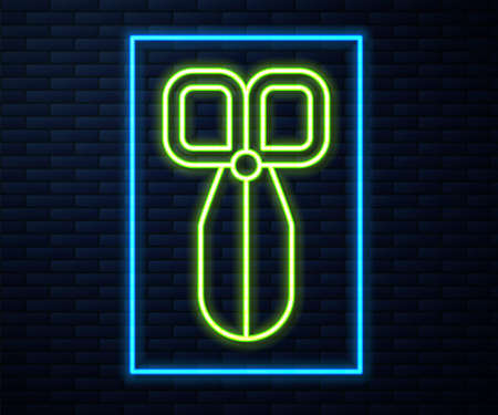 Glowing neon line Scissors icon isolated on brick wall background. Cutting tool sign. Vector
