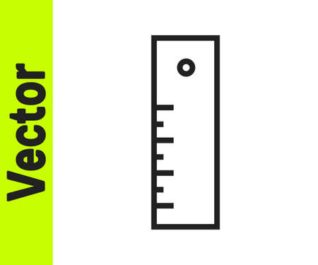 Black line Ruler icon isolated on white background. Straightedge symbol. Vector