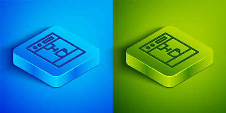 Isometric line Coffee machine icon isolated on blue and green background. Square button. Vector Illustration