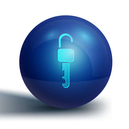 Blue Unlocked key icon isolated on white background. Blue circle button. Vector