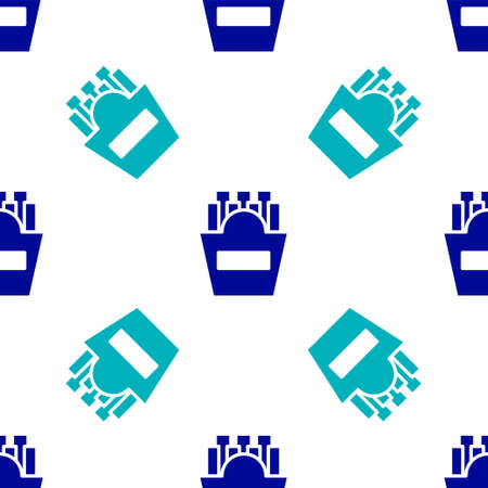 Blue Potatoes french fries in carton package box icon isolated seamless pattern on white background. Fast food menu. Vector