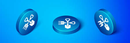 Isometric Shovel and rake icon isolated on blue background. Tool for horticulture, agriculture, gardening, farming. Ground cultivator. Blue circle button. Vector