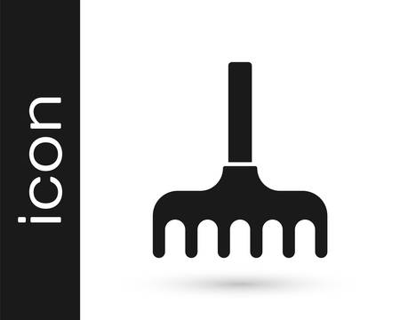 Grey Garden rake icon isolated on white background. Tool for horticulture, agriculture, farming. Ground cultivator. Vector