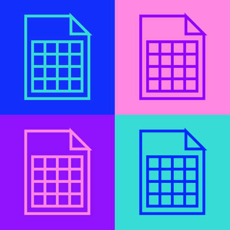 Pop art line File document icon isolated on color background. Checklist icon. Business concept. Vector Illustration