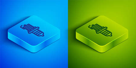 Isometric line Car spark plug icon isolated on blue and green background. Car electric candle. Square button. Vector Ilustrace