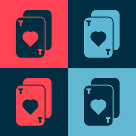 Pop art Playing cards icon isolated on color background. Casino gambling. Vector Illustration