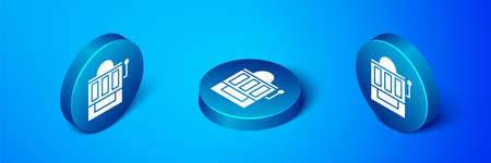 Isometric Slot machine icon isolated on blue background. Blue circle button. Vector