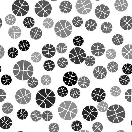 Black Basketball ball icon isolated seamless pattern on white background. Sport symbol. Vector