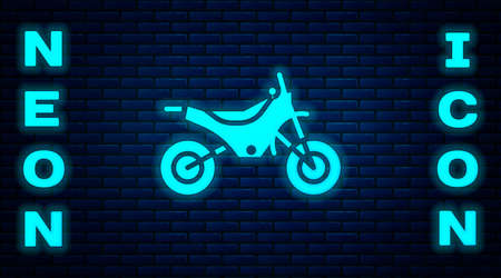 Glowing neon Mountain bike icon isolated on brick wall background. Vector Illustration