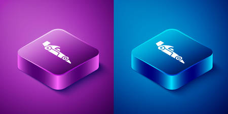 Isometric  racing car icon isolated on blue and purple background. Square button. Vector Illustration
