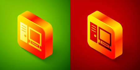 Isometric Computer monitor icon isolated on green and red background. PC component sign. Square button. Vector Illustration