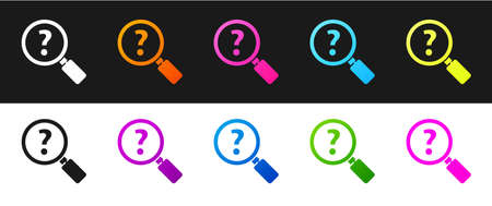 Set Unknown search icon isolated on black and white background. Magnifying glass and question mark. Vector