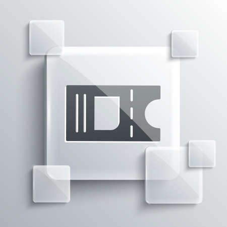 Grey Cinema ticket icon isolated on grey background. Square glass panels. Vector