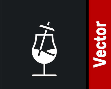 White Cocktail icon isolated on black background. Vector