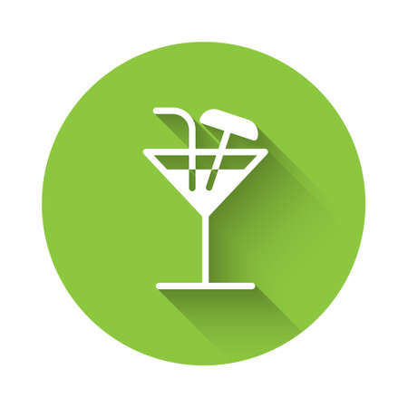 White Cocktail icon isolated with long shadow. Green circle button. Vector