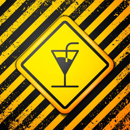 Black Cocktail icon isolated on yellow background. Warning sign. Vector